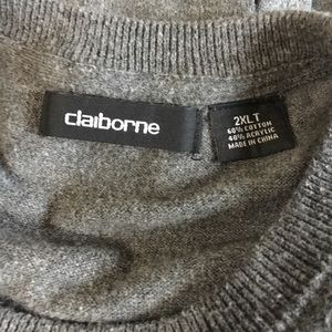 Claiborne Sweaters - Men's gray cotton blend crew neck sweater 2XL Tall
